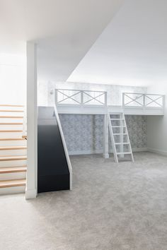 Bunk Bed With Slide, Bunk Beds With Stairs, Cool Bunk Beds, Kids Bunk Beds, Stairs With Slide, Loft Beds, Loft Playroom, Playroom Slide, Kids Basement