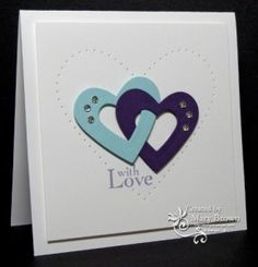 handmade Valentine ... clean & simple ... two interlocking hearts with some bling ... like the subtle effect of the piereced heart on the background ... Stampin' Up!