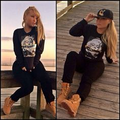 White girl swag pretty blonde hair color updo makeup street style marilyn monroe black hoody tims my style White Girl Swag, Pretty Girl Swag, White Girls, Dope Girl Swag, Swag Outfits, Dope Outfits, Winter Outfits, Casual Outfits, Timbs Outfits