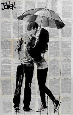 "Saatchi Online Artist: Loui Jover; Ink 2013 Drawing ""under the umbrella"""