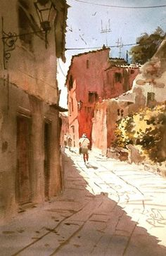 "Robert Wade - ""Hot Day in Elba, Italy"" 19""x 14"" 1999"