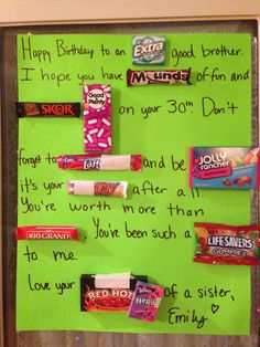 Birthday card message for boyfriend candy bars trendy Ideas Birthday Candy Grams, Birthday Candy Posters, Candy Birthday Cards, Birthday Card Messages, Birthday Card Sayings, Candy Cards, Birthday Quotes, Birthday Presents, Birthday Message For Boyfriend