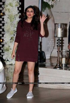 Actress Parineeti Chopra was dressed down for the party in a casual, maroon red dress and a pair of silver sneakers.
