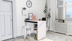 "MXIMS Public High Table/Desk Small Black/White Prints Digital Alarm Clock Sarah R Bock Marble Wall Clock Radiator Cover ( Says ""debug"" in game ) Clipped Calendar Curio Barstool recolors"