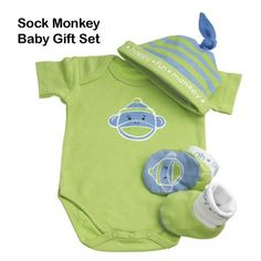 Sock Monkey Baby Gift Set - Green