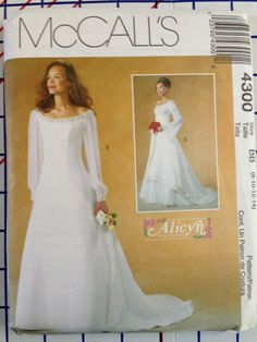 McCalls 4300 Simple Elegant Alicyn Wedding Gown Pattern 8 14 Out Of Print