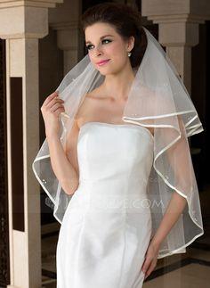 Wedding Veils - $9.99 - One-tier Fingertip Bridal Veils With Ribbon Edge (006036609) http://jjshouse.com/One-Tier-Fingertip-Bridal-Veils-With-Ribbon-Edge-006036609-g36609