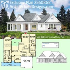 Architectural Designs Exclusive House Plan 25608GE Has A Modern Farmhouse  Exterior And A Split Bedroom Layout Inside. The Master Suite Sitting Area  Has ...