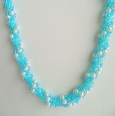 Hand Woven White Swarovski Glass Pearl and Seed Bead Necklace in Ocean Colors