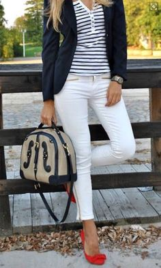White jeans, white t shirt with navy striped, navy blazer and red pumps. Patriotic red white and blue . stitch fix 2016