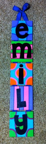 Great Christmas present for girls!! Canvas Name Art by itsallgreek on Etsy