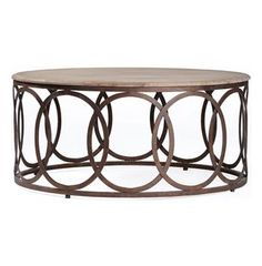 Ella Rustic Oak Interlocking Circle Coffee Table