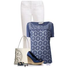 """All Tory in Blue and White Contest"" by kginger on Polyvore"