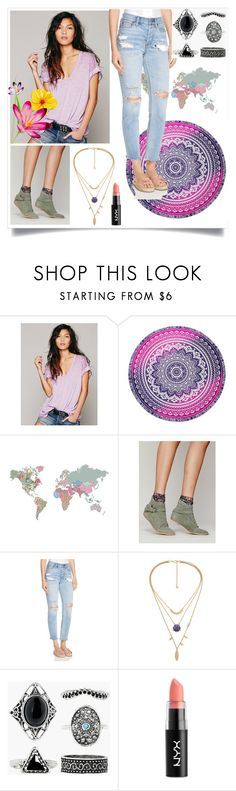 """""""Boho"""" by jordanbirnie ❤ liked on Polyvore featuring Free People, Wall Pops!, Boohoo and NYX"""