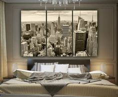 New York Skyline B&W Canvas Wall Art