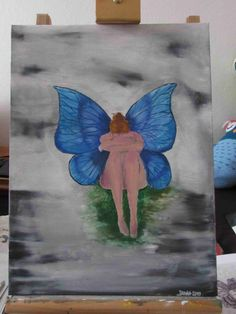 Motýlek. Olej na plátně.