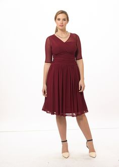 Modern Mesh Dress In Cranberry Crush by @kiyonnaplussize, Available in sizes 0-5