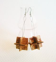 Oku Origami Earrings - Land color with Gold - Natural Collection on Etsy, $26.93 AUD