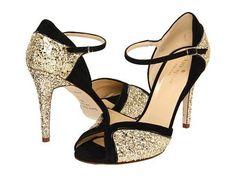 c7e58dc1b018 Kate Spade New York Corinne Black Suede Gold Glitter Black Patent - Zappos  Couture