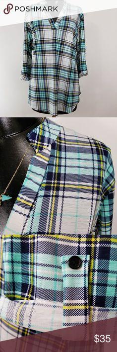 Mint Plaid Stretchy Tunic XL Mint Plaid Stretchy Tunic, XL runs small, roll tab sleeves Tops Tunics