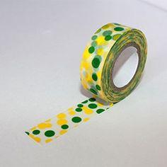 Washi Tape con lunares amarillos y verdes