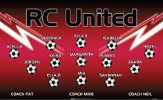 RC United B52585  digitally printed vinyl soccer sports team banner. Made in the USA and shipped fast by BannersUSA.  You can easily create a similar banner using our Live Designer where you can manipulate ALL of the elements of ANY template.  You can change colors, add/change/remove text and graphics and resize the elements of your design, making it completely your own creation.