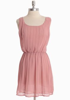 """Short pink """"Love & Affection"""" pleated dress with scoop neckline from Ruche. Modern Vintage Dress, Vintage Inspired Dresses, Vintage Dresses, Cute Dresses, Flowy Dresses, Chiffon Dress, Bridesmaid Dresses, Bridesmaids, Dress To Impress"""
