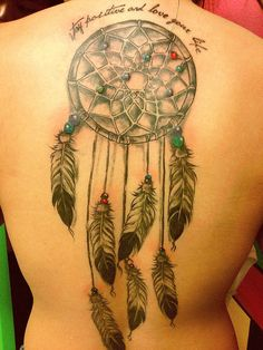 the dreamcatcher is my tattoo. it represents what a dreamcatcher is meant to do. watch over and catch the evil. it symbolizes all the times shits happen but overcome it and now im the person i am today, loving life. i got it on my back because the dreamcatcher will forever be with me continuing to watch my back.  done by duong at way of ink at springfield, virginia