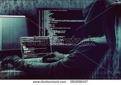 Glitch effect. Hacker working on a code on dark digital background with digital interface around.