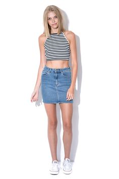 LUCK & TROUBLE Halter Stripe Top Navy, denim skirt, Converse All Star OX White Sneakers.