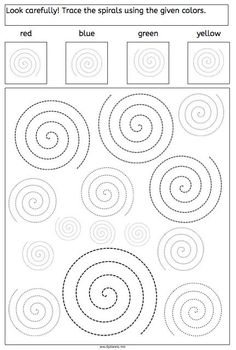 spirals tracing dyslexia dyscalculia parents children fine motory skills worksheet More on math and learning in general under central learning Visual Motor Activities, Dyslexia Activities, Visual Perceptual Activities, Learning Disabilities, Educational Activities, Preschool Activities, Tracing Worksheets, Preschool Worksheets, Pre Writing