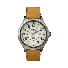 Men's Timex Expedition Scout Watch with Leather Strap ($45) ❤ liked on Polyvore featuring men's fashion, men's jewelry, men's watches, tan, mens watches, mens military watches, mens watches jewelry, timex mens watches and oversized men's watches