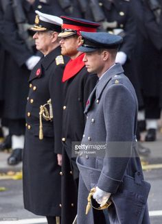Prince William, Duke of Cambridge, Prince Harry and Prince Andrew, Duke of York during the annual Remembrance Sunday Service at The Cenotaph on November 12, 2017 in London, England.