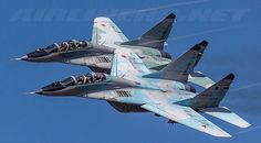 """A pair of Russian Air Force MiG-29UB """"Fulcrum-Bs"""""""