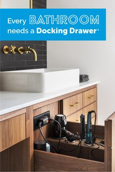Bathroom In-Drawer Powering Outlets