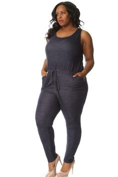 Plus Size French Terry Drawstring Romper