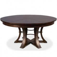 A beautiful piece that exudes casual elegance, the Mink Round Jupe Dining Table Dining Table features solid oak construction, a rich brown stained top and exquisitely textured wrought iron accents. Shop rustic extendable round dining tables now. Metal Leg Dining Table, Country Dining Tables, Dining Table Sizes, Unique Dining Tables, French Country Dining, Contemporary Dining Table, Pedestal Dining Table, Round Dining Table, Dining Room