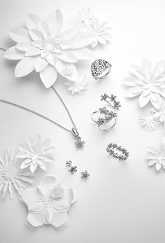 Beautiful daisy pieces perfect for this season's garden parties. Jewellery Advertising, Jewelry Ads, Photo Jewelry, Jewelry Shop, Fine Jewelry, Jewelry Design, Fashion Jewelry, Pandora Earrings, Pandora Bracelet Charms