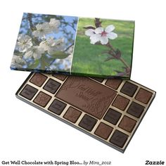 Get Well Chocolate with Spring Blooms 45 Piece Box Of Chocolates Personalized Chocolate, Personalized Gifts, Happy Fathers Day, Fathers Day Gifts, Chocolates, Get Well Gifts, Magic Box, Matching Cards, Custom Gift Boxes