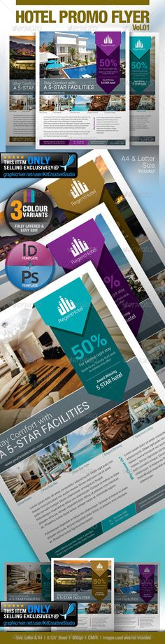 """Hotel Promo Flyer Vol.01  #GraphicRiver         This clean and simple template perfectly used for hotel related businesses.    Fonts : Roboto Family  Colour : CMYK  Files : .psd, .indd (CS6) & .idml ( CS4 or later version )  Size : 11"""" x 8.5"""" / 300dpi + A4 / 300dpi  bleeding : 0.125""""   Fully layered  Smart object layer to edit images  images used are not included.  help.txt included for fonts and images used details  Logo used is not included, however you may purchase…"""