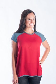 Short Sleeve Baseball Blouse | Crimson
