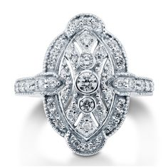 Sterling Silver CZ Art Deco Filigree Ring