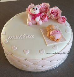 Dåpskake jente rosa bamse baby