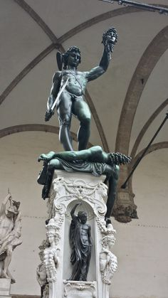 Benvenuto Cellini's statue Perseus With the Head of Medusa in The Loggia dei Lanzi gallery on the edge of the Piazza della Signoria, Florence Bronze Sculpture, Sculpture Art, Sculptures, Statues, Perseus And Medusa, Maria Alice, Son Of Zeus, Italian Sculptors, Internet Art