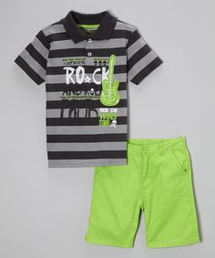 Look what I found on #zulily! Black & Gray Stripe Polo & Lime Shorts - Toddler & Boys #zulilyfinds
