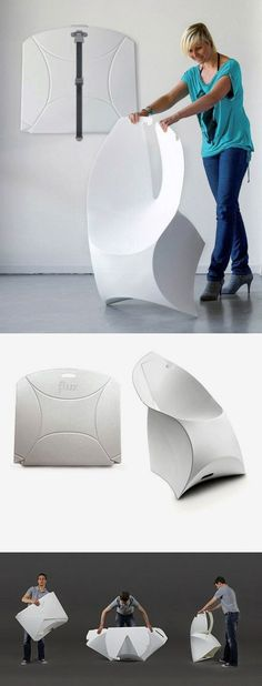 The Flux chair saves 97% of space in a unique design, like an origami chair.   Tiny Homes