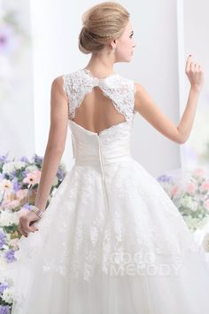 Pretty A-Line Natural Ankle Length Tulle Sleeveless Zipper Wedding Dress with Sashes and Appliques CWZA14001