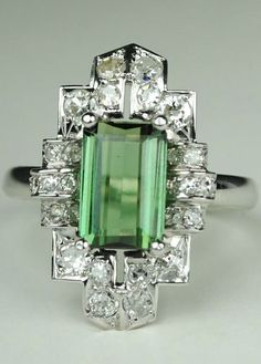 Long Green Tourmaline Art Deco Diamond Ring, Vintage item from the 1920s. Platinum, 14kt White Gold, Diamonds, Tourmaline.