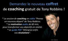 """Qui n'a pas encore le coffret de coaching gratuit offert par Tony Robbins ?  Libérez-vous du stress et atteignez la sérénité…  Vous trouverez des outils super puissants : * La session de coaching en vidéo """"Prenez un nouveau départ"""". * Une motivation audio de 60 min., pour transformer vos objectifs en réalité. * Le guide PDF """"Atteignez enfin vos résolutions"""".  Comment vous procurez ce coffret de coaching ?  https://mj223.isrefer.com/go/upw/Vale32/  #coaching #stress #sérénité #motivation"""