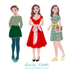 Louisa Clark's Outfits (the best part tbh) Character Design Cartoon, Lara Jean, Quirky Fashion, Emilia Clarke, Poses, Art Blog, Good Movies, Walt Disney, Style Inspiration